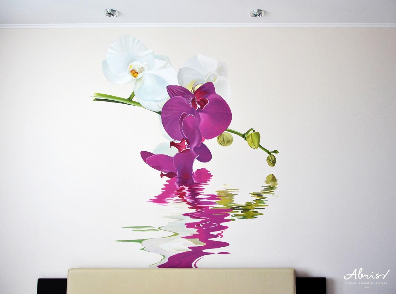 Нарисовать на стене цветы фото